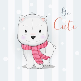 Cute polar bear with scarf walking in the snow
