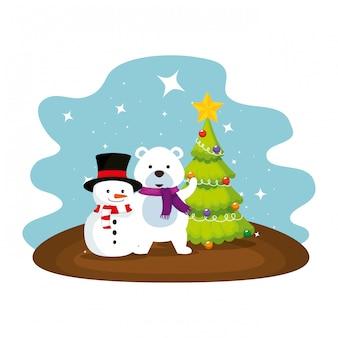 Cute polar bear with snowman characters