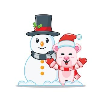 Cute polar bear with snowman in christmas day cute christmas cartoon illustration
