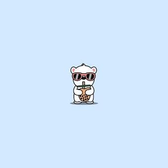 거품 차 만화를 마시는 선글라스와 귀여운 북극곰