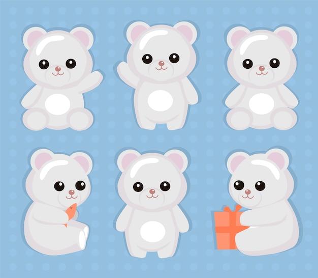 Cute polar bears set