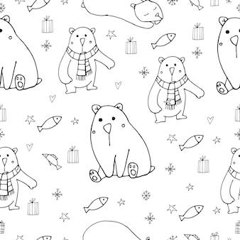 흰색 배경 낙서 겨울 문자에 귀여운 북극곰 벡터 일러스트 레이 션 원활한 패턴