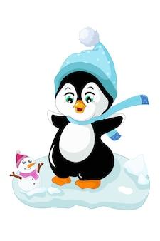Cute polar penguin having fun on the snow with a snowman, design cartoon  illustration