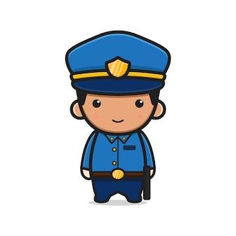 귀여운 경찰 만화 아이콘 벡터 일러스트 레이 션. 디자인 고립 된 평면 만화 스타일