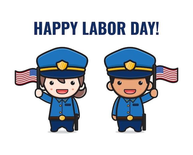 Cute police celebrate labor day cartoon illustration. design isolated flat cartoon style