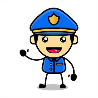 Cute police character premium vector