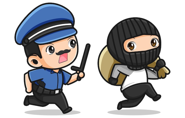 Cute police chasing thief   design