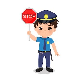 Милый полицейский человек со знаком остановки