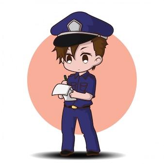 Cute police man working in uniform standing happy