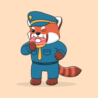 Cute police red panda eating doughnut