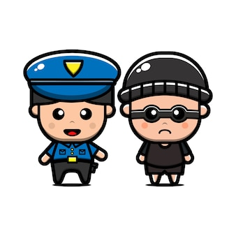 Cute police and thief character