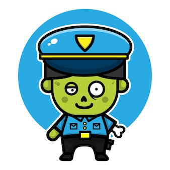 Cute police zombie cartoon character halloween concept illustration