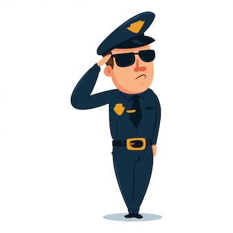 Cute policeman cartoon character. police officer in traditional uniform. vector people illustration isolated