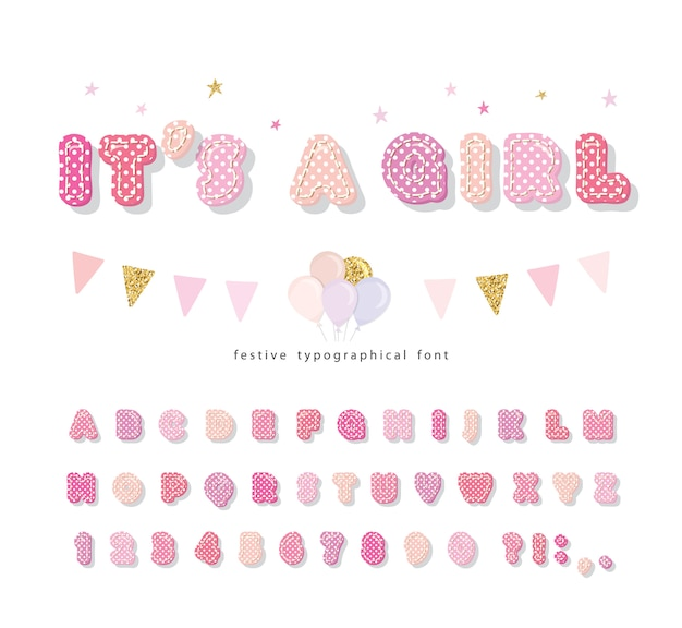 Cute polka dots font in pastel pink.