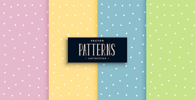 Cute polka dots small patterns set in pastel colors