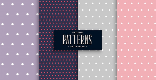 Cute polks dots patterns set of four