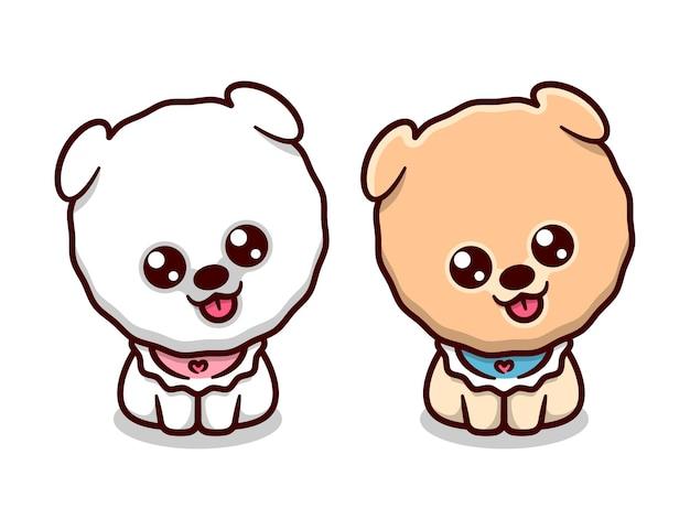 Милый щенок померанской сиды сидет и показывает мультфильный маскот с выражением лица