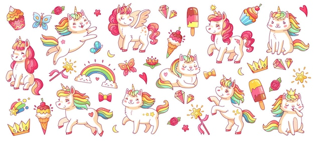 Симпатичные пони и кошки-единороги. ребенок радуга пегас и катикорог, бриллиант и корона, бабочка и магия