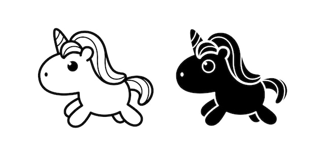Cute pony unicorn in flat black and white doodle styles cute doodle vector illustration