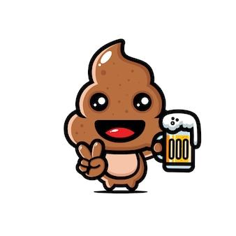 Милый какашка с бокалом пива
