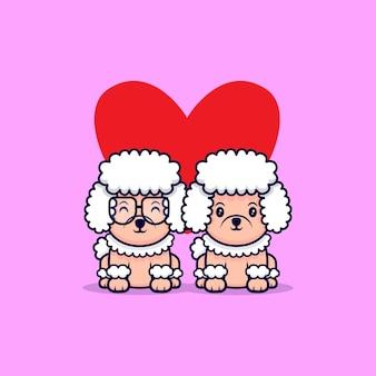 Cute poodle dog couple fall  in love cartoon icon illustration