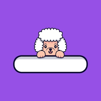 Cute poodle dog holding a blank tag cartoon icon illustration Premium Vector