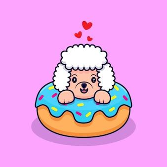 Cute poodle dog inside donut cartoon icon illustration