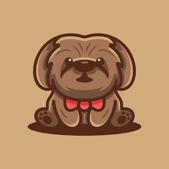 귀여운 푸들 강아지 로고 프리미엄 벡터