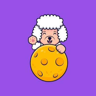 月の後ろに足を振ってかわいいプードル犬漫画アイコンイラスト