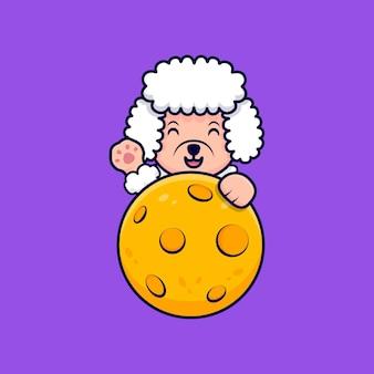 Cute poodle dog waving paws behind moon cartoon icon illustration