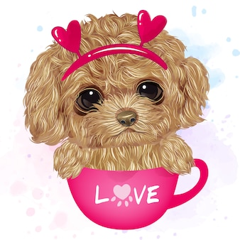 Cute poodle sitting inside the cup with watercolor