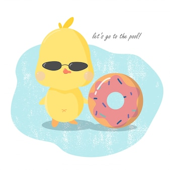 Cute pool party invitation card, yellow duct with inflatable dougnut.