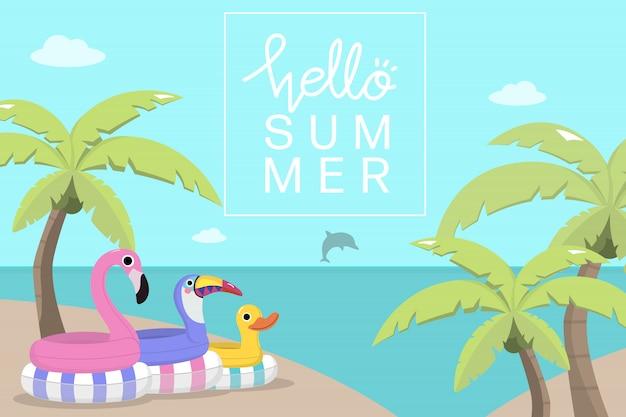 Симпатичные игрушки для бассейна и кокосовые пальмы Premium векторы