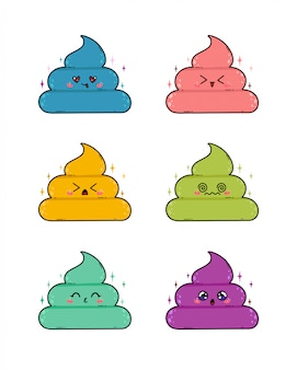 Cute poop character in japan kawaii style. the cute poo emoji stickers set isolated