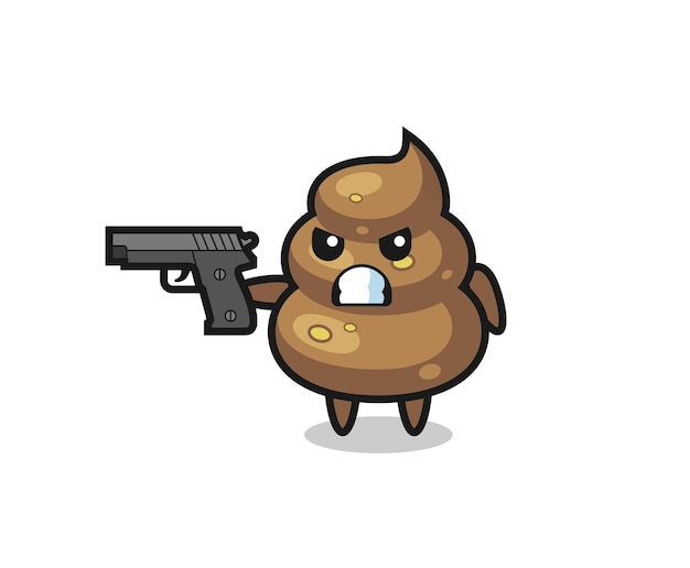 The cute poop character shoot with a gun , cute style design for t shirt, sticker, logo element