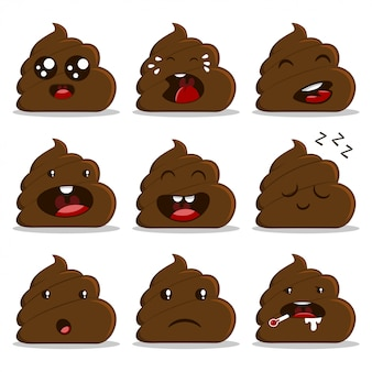 Cute poop with different emotion cartoon set isolated on white