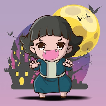 Cute pop ghost on full moon background