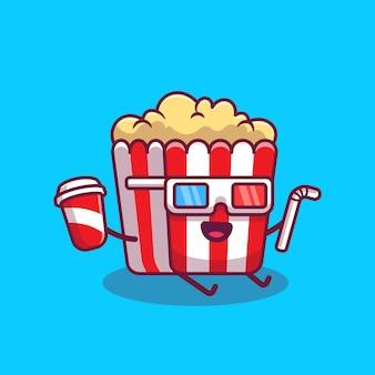 3d 영화 안경 만화 아이콘 일러스트와 함께 소 다와 빨 대를 들고 귀여운 팝콘. 영화 음식 만화 아이콘 개념 절연입니다. 플랫 만화 스타일