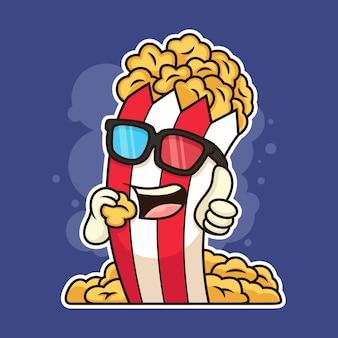Симпатичные очки носить попкорн мультфильм значок иллюстрации. концепция значок еда на фиолетовом фоне
