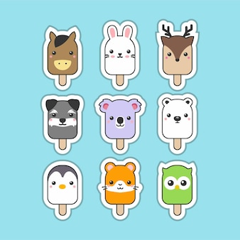 Cute popsicle animals set mininalist