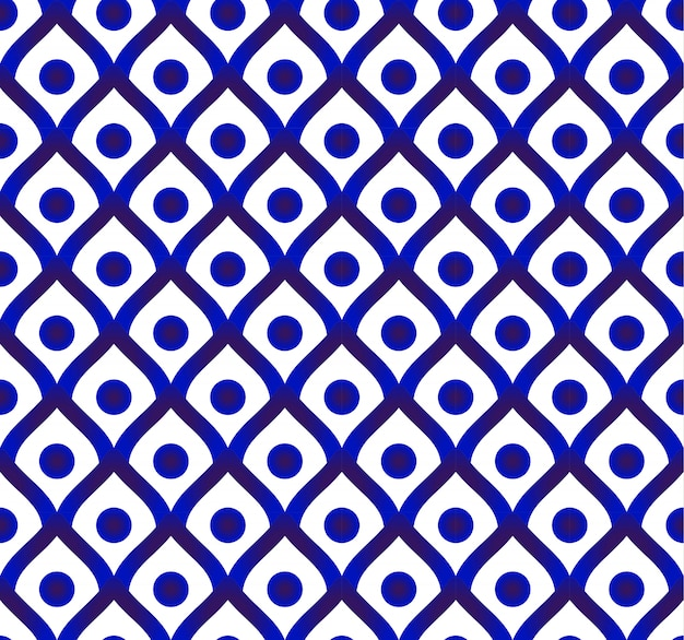 かわいい磁器の背景、セラミックタイのパターン、青と白のモダンなインテリア