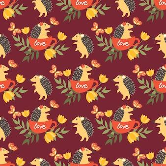Cute porcupine seamless pattern.