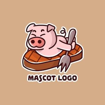 스테이크 고기 마스코트 로고에 귀여운 돼지 고기