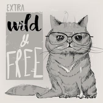 Cute portrait of a cat. vector illustration.