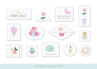 Cute postage stamps for birthday design