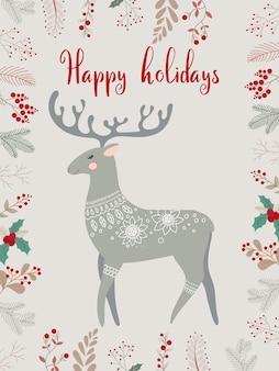 鹿とかわいいポストカード。冬の要素と休日の願いを込めたクリスマスグリーティングギフトカード。白い背景で隔離の冬のベクトルイラスト。