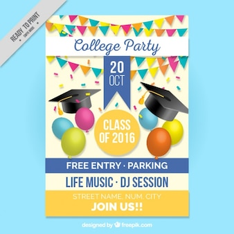 卒業パーティーのためのかわいいポスター