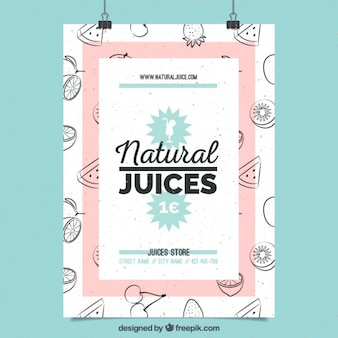Cute poster of natural juices with hand drawn fruits Free Vector