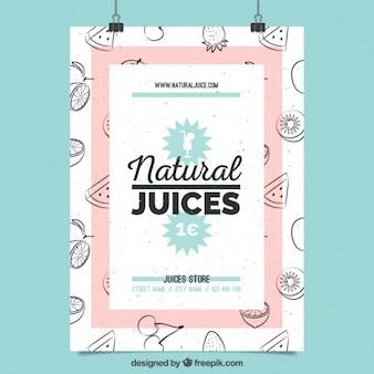 Симпатичный плакат натуральных соков с рисованной фруктов