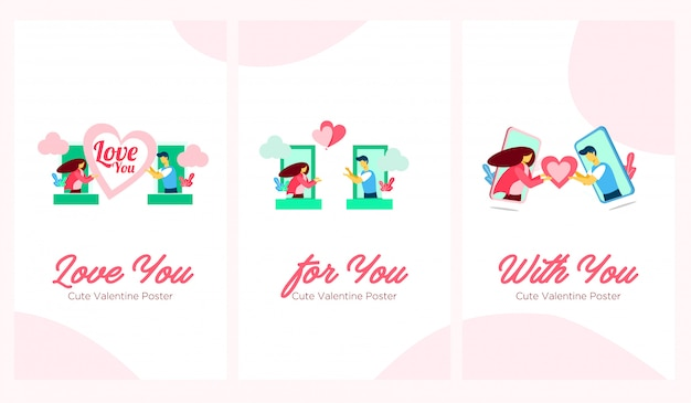 Милый плакат валентин плоская иллюстрация